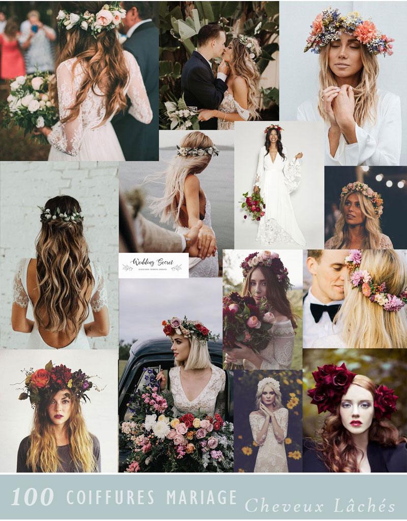 coiffure de mariée boheme chic avec cheveux lâchés et couronne de gyspophile