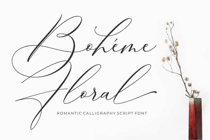 boheme florale typographie